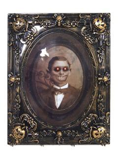 Horror-Portrait animiert mit Sound und Leuchtaugen Halloween-Deko schwarz-beige 29x37cm