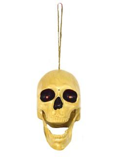 Schauriger animierter Totenkopf mit Sound Halloween-Deko beige 19cm