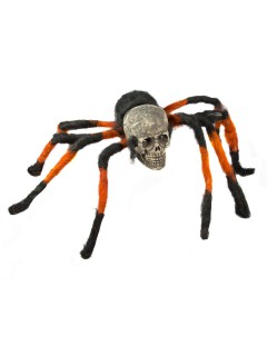 Riesige Totenkopf-Spinne mit Leuchtaugen Halloween-Deko beige-schwarz-orange 180cm