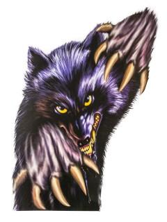 Werwolf Horror-Fensterdeko lila-grau 60x43cm