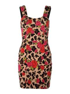 Iron Fist Leopard Garden Minikleid rot-beige-schwarz