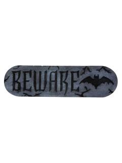 Beware-Schild Halloween-Deko Fledermäuse grau-schwarz 30x10x2,5cm