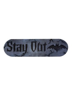 Stay Out-Schild Halloween-Deko grau-schwarz 30x10x2,5cm