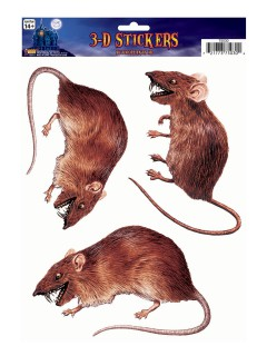 Ratten-Sticker Halloween-Deko 3 Stück braun