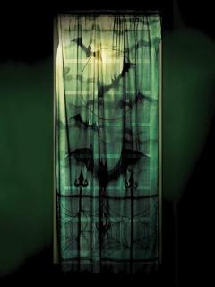 Spitzen-Vorhang Fledermäuse Halloween-Deko grau-schwarz 101x213cm