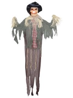 Vogelscheuche-Hängedeko Halloween-Dekoration mit Licht beige-grau 183x140x20cm
