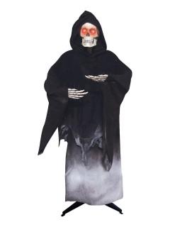 Horror-Skelett mit Leuchtaugen Halloween-Dekofigur schwarz-weiss 176cm