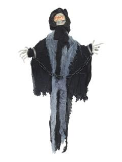 Gefangener Skelett-Sensenmann animiert mit Leuchtaugen und Sound Halloween Hängedeko schwarz-grau 60x45x7cm