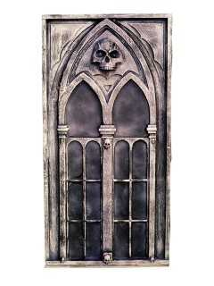 Gothic Spitzbogen-Fenster Totenschädel Halloween Party-Deko grau 61x122x10cm
