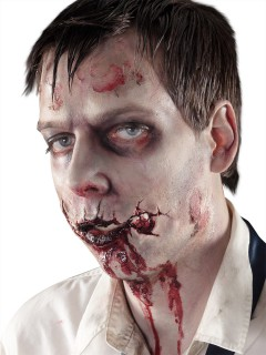 Blutige Zombiemund-Latexwunde Halloween hautfarben-rot