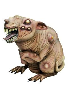 Zombie-Ratte Halloween Party-Deko beige-braun 17x38x27cm