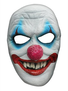 Horror Clown Halloween Latex-Maske Zirkus weiss-bunt