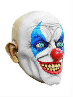 Horror Clown Halloween Latex-Maske weiss-blau-rot