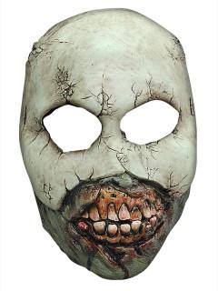 Zombie-Phantom Latex-Halbmaske für Halloween grau-rot