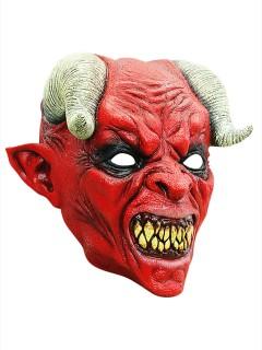 Gehörnte Teufelsmaske Diabolische Halloweenmaske rot
