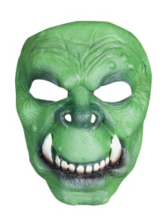 Orkische Latex-Halbmaske für Halloween grün-beige
