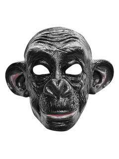 Schimpansen-Maske Affenmaske Halloweenmaske schwarz