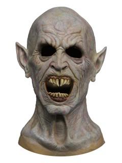 Blutrünstiger Vampir Halloween Latex-Maske Dämon weiss-grau