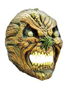 Faltiger Kürbis Halloween Latex-Maske Monster grün-beige