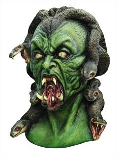 Dämonische Medusa Halloween Latex-Maske Antike grün