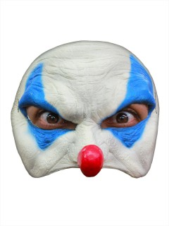 Böser Clown Halloween Latex-Maske Halbmaske weiss-blau