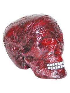 Verbrannter Totenschädel Halloween-Party-Deko rot 20x12x17cm