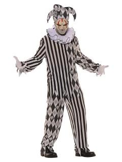 Horror-Harlekin Halloween-Kostüm Psycho-Clown schwarz-weiss
