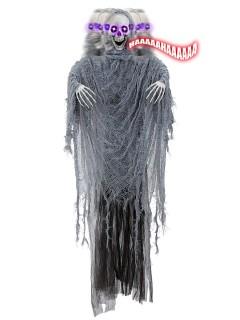 Skelett-Sensenmann animiert mit Sound und Leuchtaugen Halloween-Hängedeko weiss-grau-schwarz 100cm
