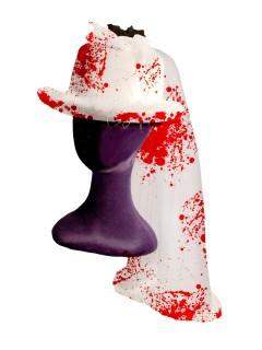 Blutiger Zombiebraut-Hut mit Schleier Halloween weiss-rot