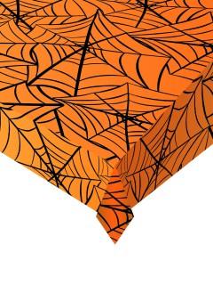 Spinnennetz-Tischdecke für Halloween orange-schwarz 137x274cm