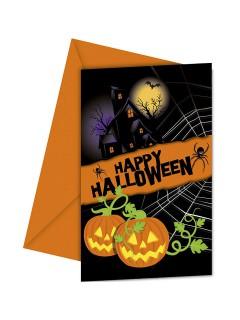 Schaurige Einladungskarten mit Umschlägen für Halloween-Party 6 Stück schwarz-orange 9x14cm