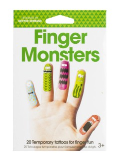 Monster-Fingertattoos Halloween-Make-up bunt