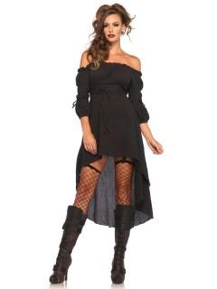 Edles Gothic-Kleid Damenkostüm Plus Size schwarz