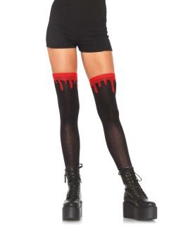 Blutige Overknee-Strümpfe Halloween schwarz-rot