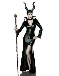 Böse Fee Halloween Damenkostüm Märchen Komplettset schwarz