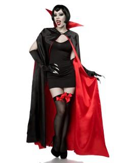 Sexy Vampirin Halloween Damenkostüm Komplettset schwarz-rot