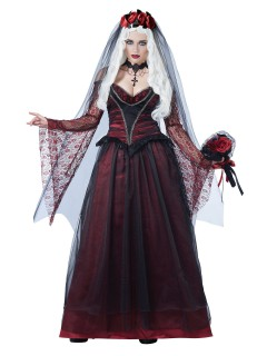 Gothic Vampir-Braut Halloween-Damenkostüm schwarz-bordeaux