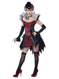 Sexy Vampirin Halloween-Damenkostüm schwarz-rot-silber
