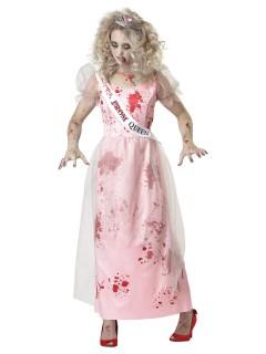 Zombie Prom-Queen Kostüm rosa-rot-weiss