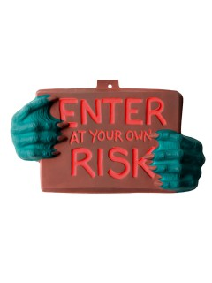 Monster-Schild Enter At Your Own Risk Halloween Party-Deko grün-braun-rot 22x40cm