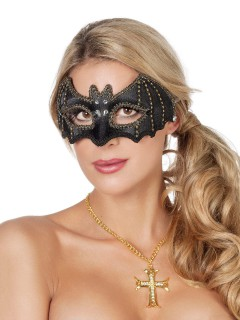 Fledermaus Augenmaske mit Schmucksteinen schwarz-gold-weiss