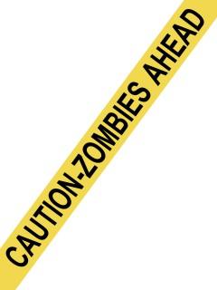 Absperrband CAUTION ZOMBIES AHEAD Halloween Party-Deko gelb-schwarz 1500x8cm