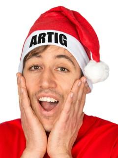 """Lustige Weihnachs-Mütze """"ARTIG"""" für Erwachsene rot-weiss"""