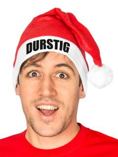 Lustige Weihnachtsmann-Mütze DURSTIG rot-weiss