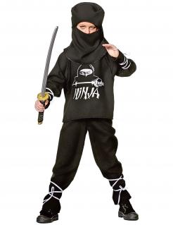Ninja-Kostüm für Kinder schwarz-weiss