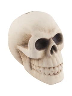 Totenschädel-Spardose Halloween-Deko beige 11x12x16cm