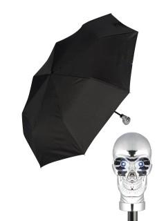 Taschen-Regenschirm Totenschädel mit Leuchtaugen schwarz-silber 30cm
