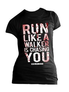 The Walking Dead Girlie Shirt Run like a Walker Lizenzware schwarz-weiss-rot
