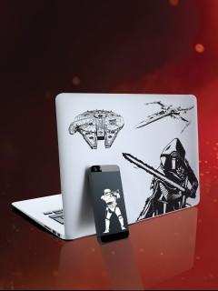 Star Wars™-Aufkleberset Lizenzartikel 10 Stück schwarz-weiss