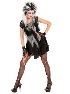 Punk Zombie Halloween Damenkostüm schwarz-grau